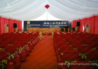 China Hard Pressed Aluminum Frame Fabric Cover Commercial Party Tents With Beautiful Lining Decorations factory