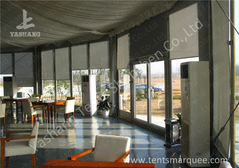 Transparent Glass Wall And Glass Door Gazebo Canopy Tents White Pvc