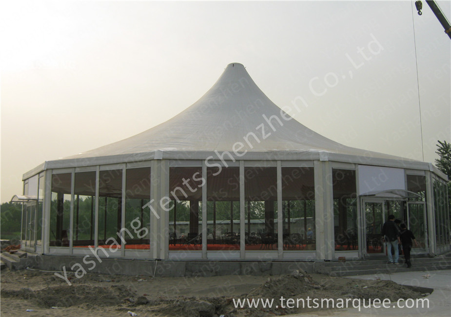 Transparent Glass Wall and Glass Door Gazebo Canopy Tents White PVC Cover