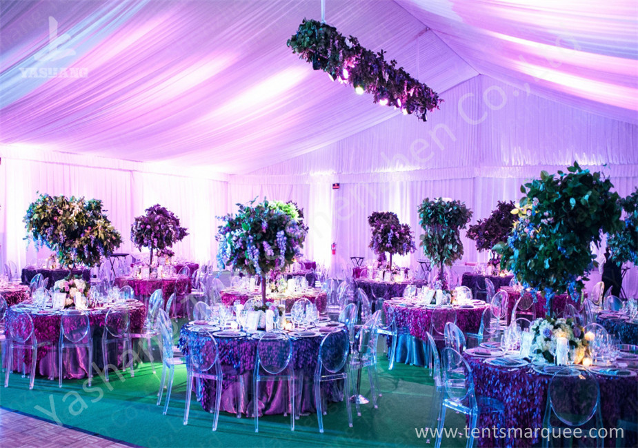 Decoration Outdoor Aluminum Wedding Reception Tents Colorful Lighting / Lining