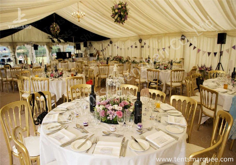 Fixable Temporary 10x21m Alumminum Frame Luxury Wedding Tents With Lining Decorations