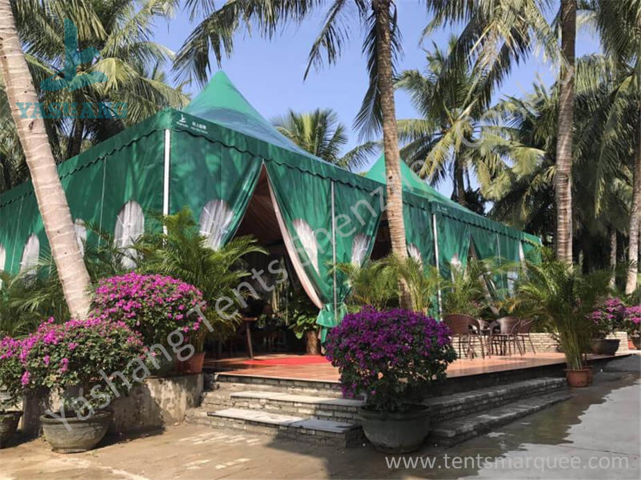 Green PVC Fabric Cover High Peak Tents with Anodized Aluminum Frame