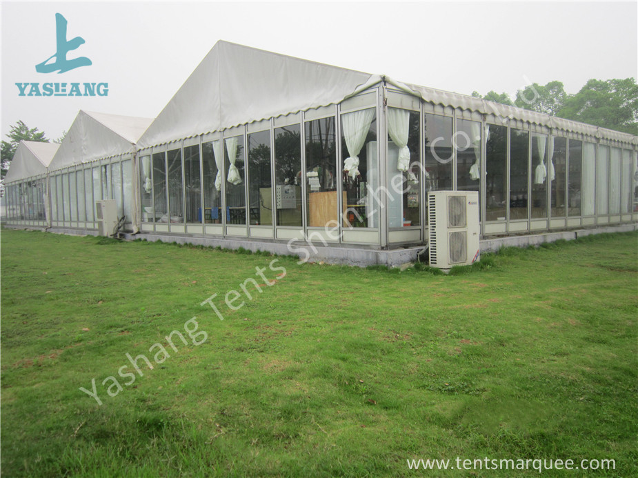 Outdoor Transparent Glass Wall Pagoda Party Tent for DIY Shop , 12 x 18M
