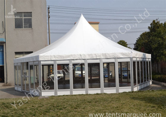 Polygon Transparent Glass Wall wedding canopy tent high peak Aluminum Frame
