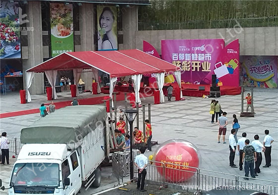 Red UV Resistant Fabric Roof Cover Aluminum Frame Tent Structures, Shelter System