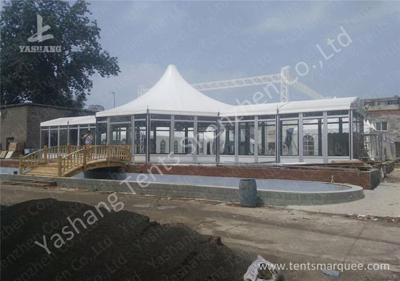 Custom Outdoor Tents For Events , Event Canopy Tent A Frame Combined With High Peak Shape