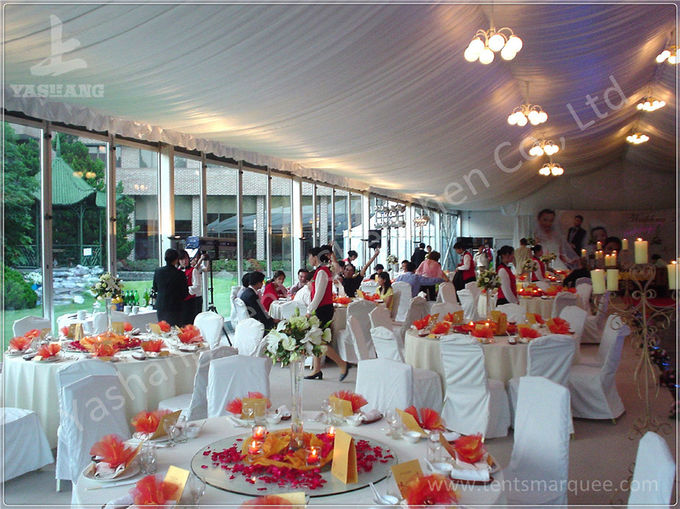 Transparent Glass Wall Aluminum Profile Wedding Event Tent , White Roof Lining Decoration