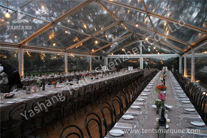 Classical Wood Tables Available for Luxury Wedding Tents with Aluminum Frame